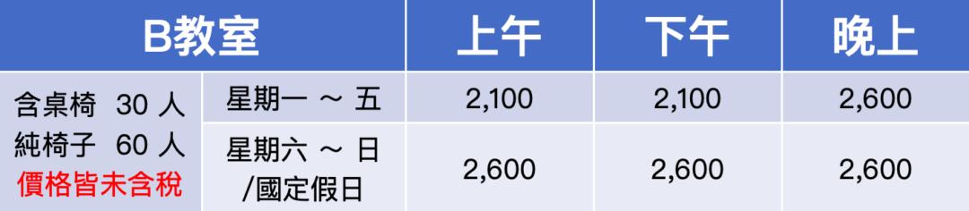桃園場地租借-桃園思考致富教室-B教室費用表