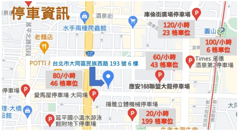 台北圓山停車介紹-教室出租