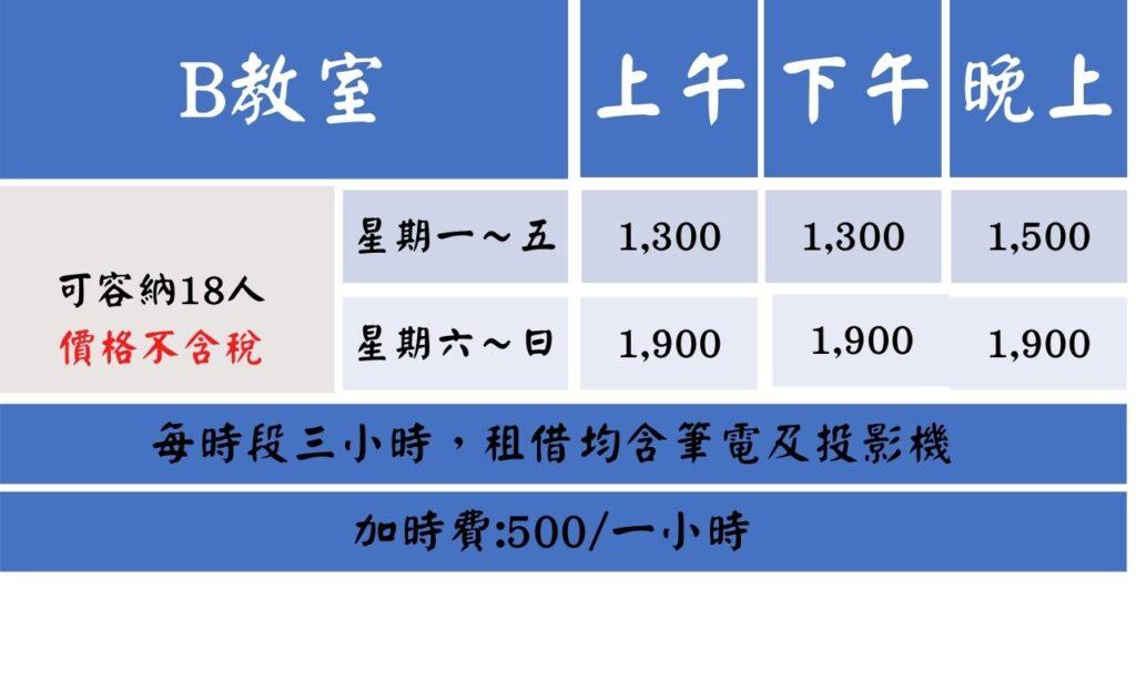 高雄美麗島B教室價格表
